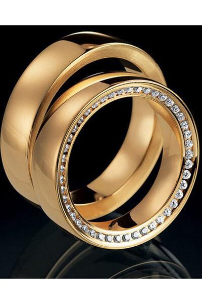 Πλακέ βέρες γάμου χρυσό με διαμαντάκια, Saint Maurice