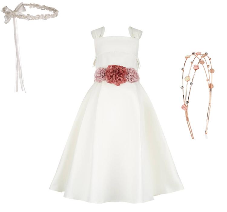 Λευκό φόρεμα για παρανυφάκια με λουλούδια