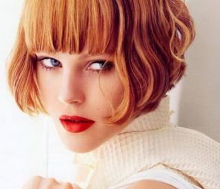Κόκκινα-καρέ μαλλια με φράτζα